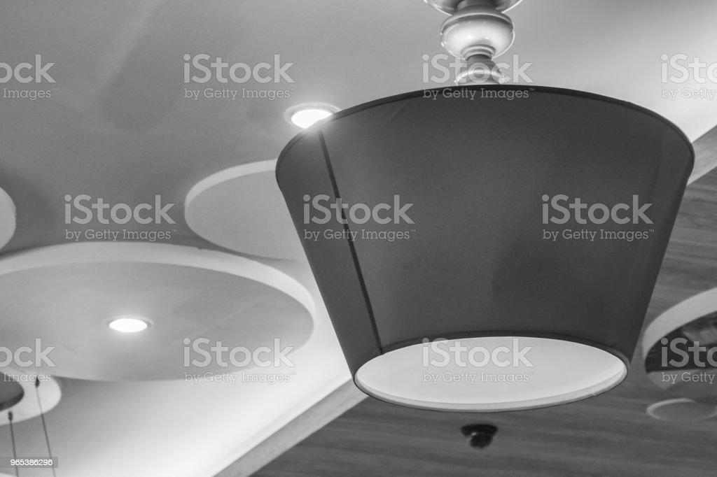 black and white big hanging lamp at home zbiór zdjęć royalty-free