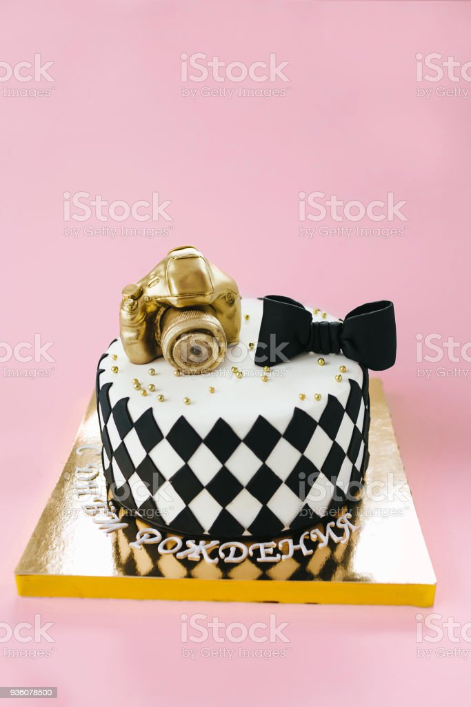 Wondrous Black And White Birthday Cake For Photographer On Pink Background Funny Birthday Cards Online Alyptdamsfinfo
