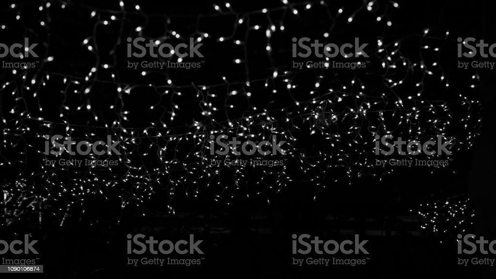 Black and White Bokeh Lights Black Background - Royalty-free Abstract Stock Photo