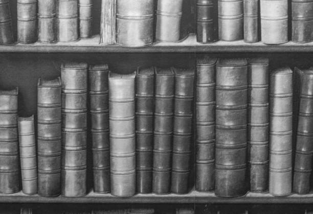 Black And White Bookshelf Wallpaper Stock Photo