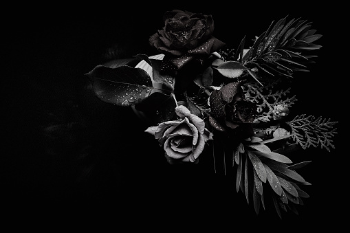 Black and white bouquet studio backdrop shot