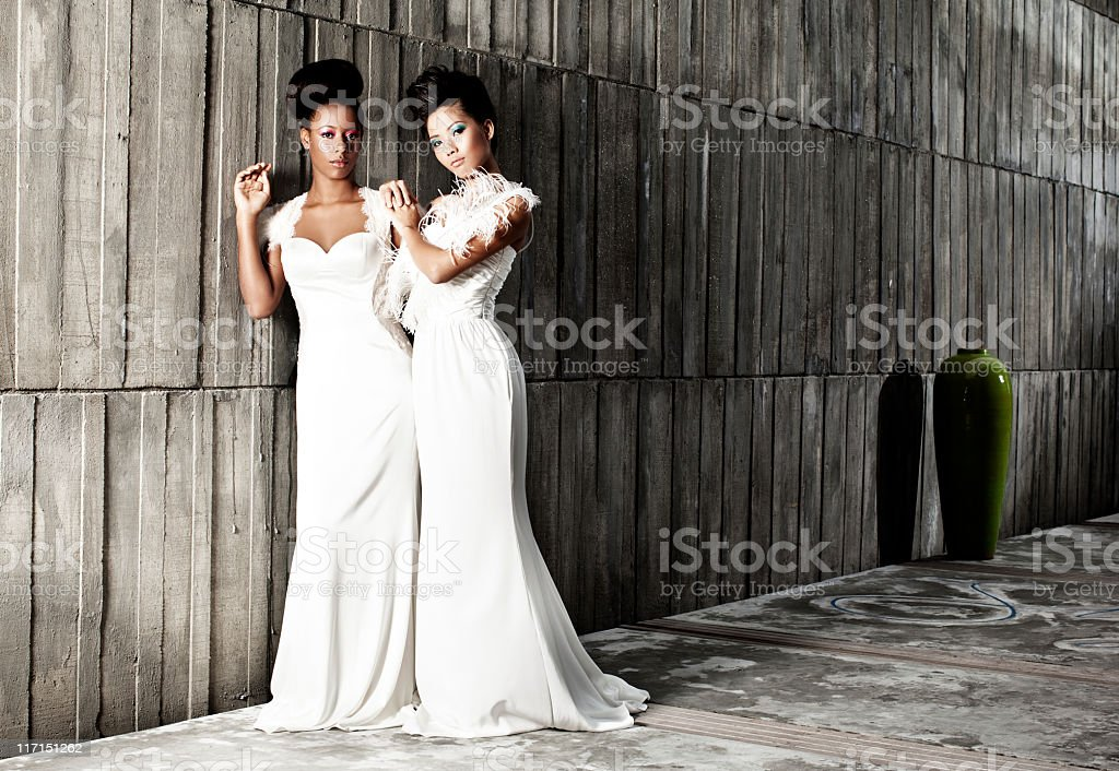 Black and White Bride stock photo
