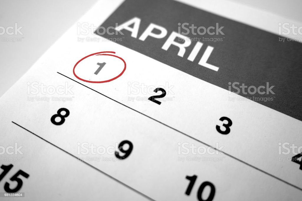 Black and white calendar of the month of April with 1 circled stock photo
