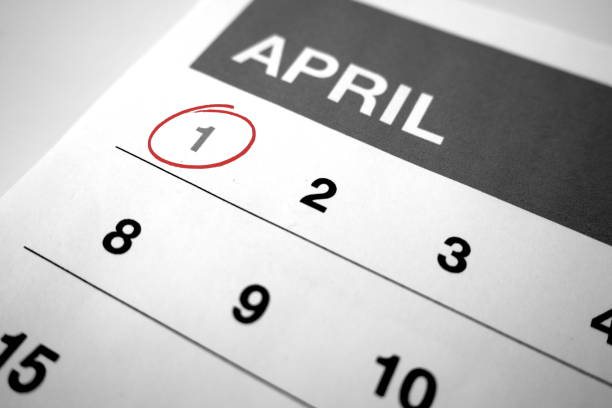 Black and white calendar of the month of April with 1 circled Black and white calendar of the month of April with 1 circled april fools day stock pictures, royalty-free photos & images
