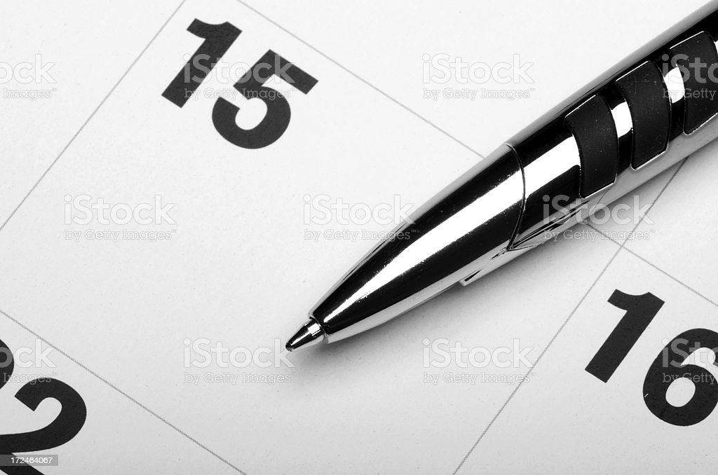 Black and White Calendar royalty-free stock photo