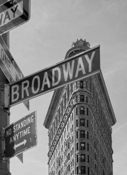 Black and white capture. The Flatiron, New York City, NY, USA stock photo