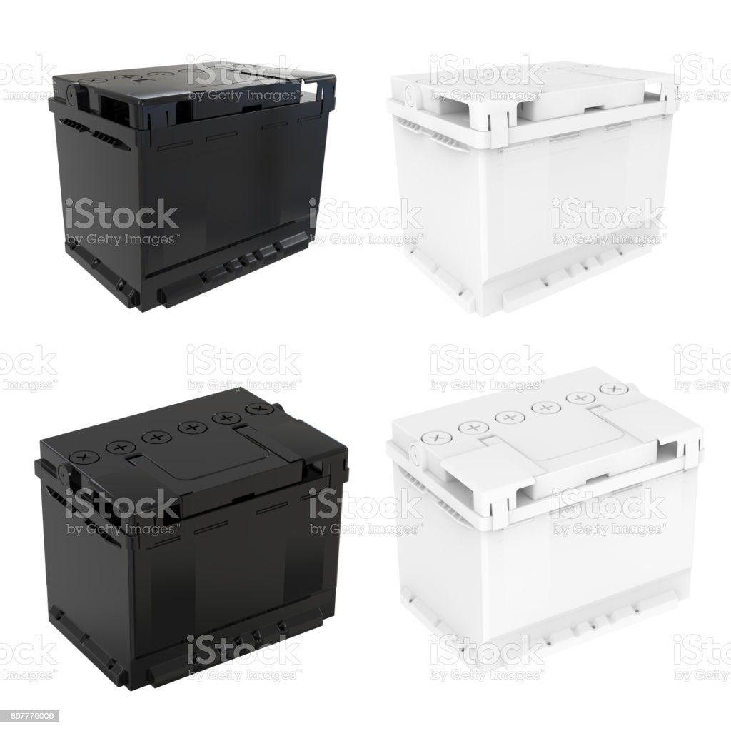 Black and white car battery isolated on white background. stock photo