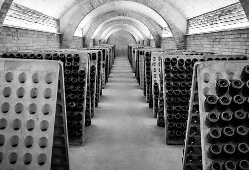 black and white cellar champagne cava wine unrecognizable dark nobody