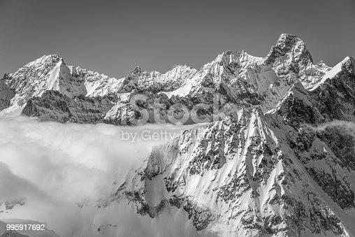 istock Black and white Chamonix winter scenery 995917692