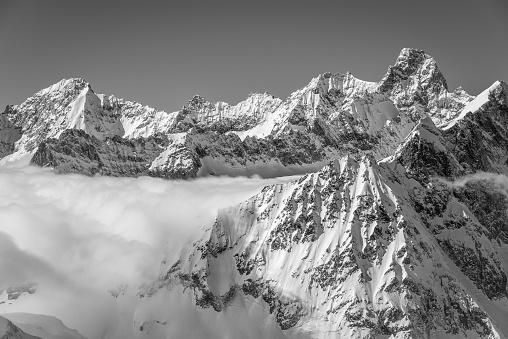 Black and white Chamonix winter scenery