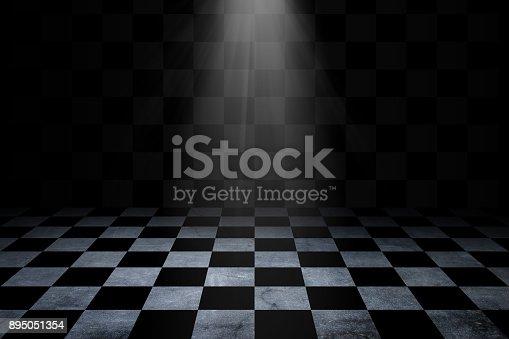istock Black And White Checker floor Grunge Room. Checker floor lead into dark empty space 895051354