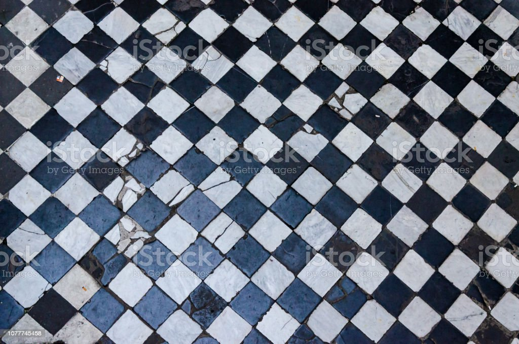 Black And White Checkered Floor Tiles Background Texture