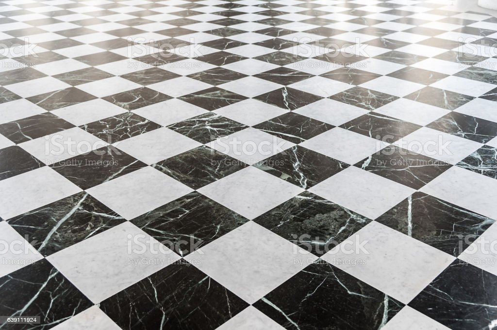 Black And White Checkered Marble Floor Stock Photo