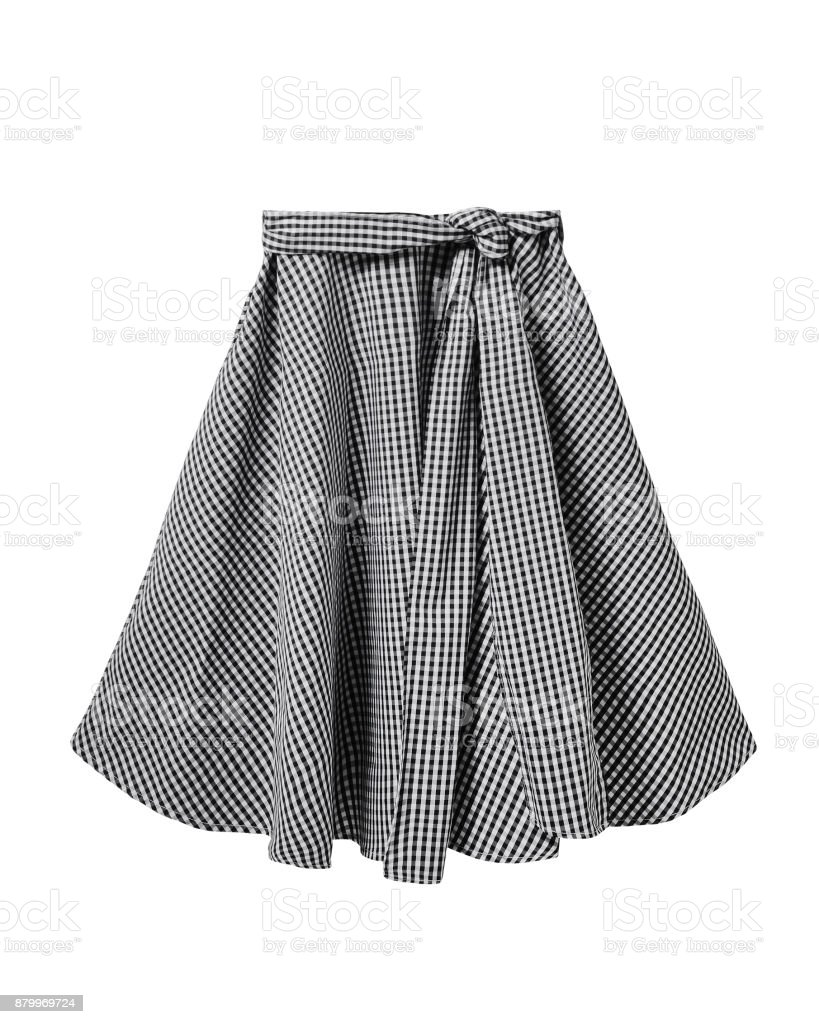 Black And White Checkered Skirt With Long Ribbon Belt Isolated On