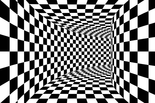 Black and White Checkered Square Walled Tunnel Abstract Background stock photo