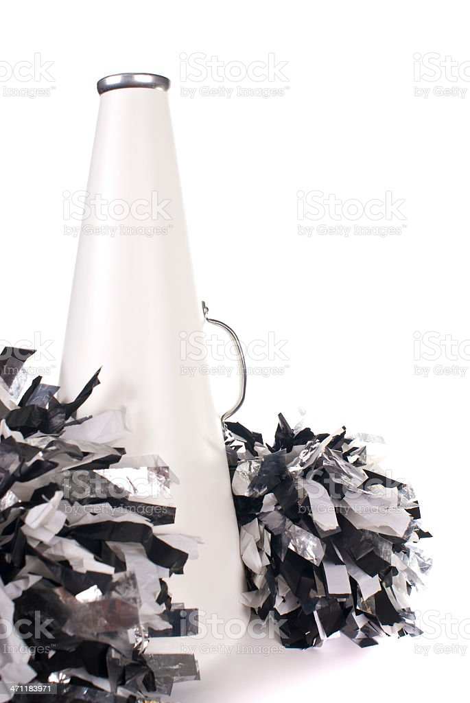 Black and white cheerleading megaphone with pom poms royalty-free stock photo
