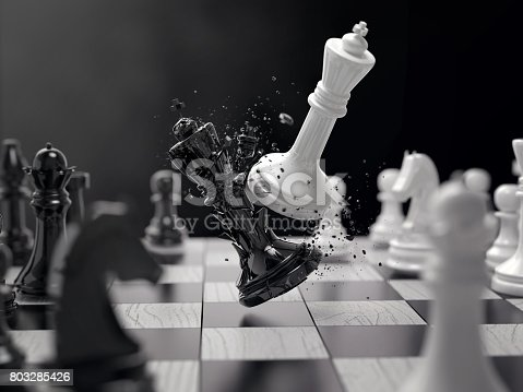 black and white chess battle, Concept for business strategy