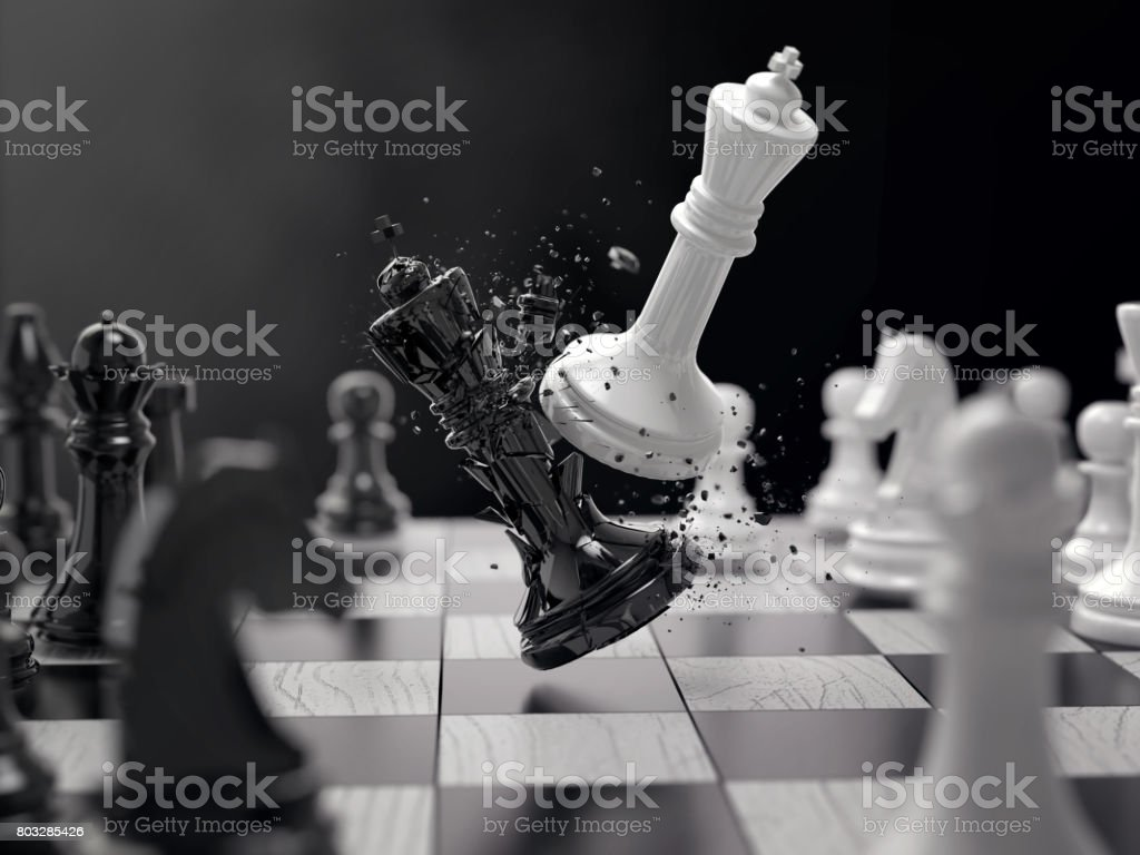 Batalha de xadrez preto e branco - foto de acervo