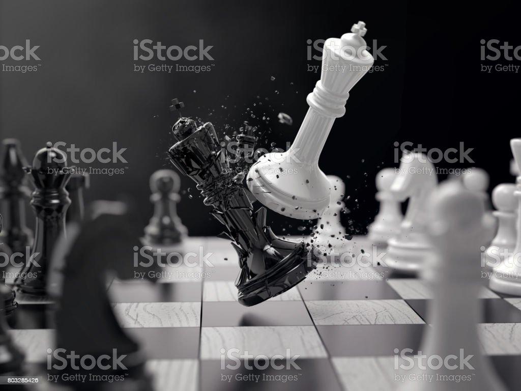 black and white chess battle stock photo