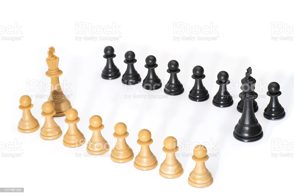 Black and White Chessmen with Shadow royalty-free stock photo