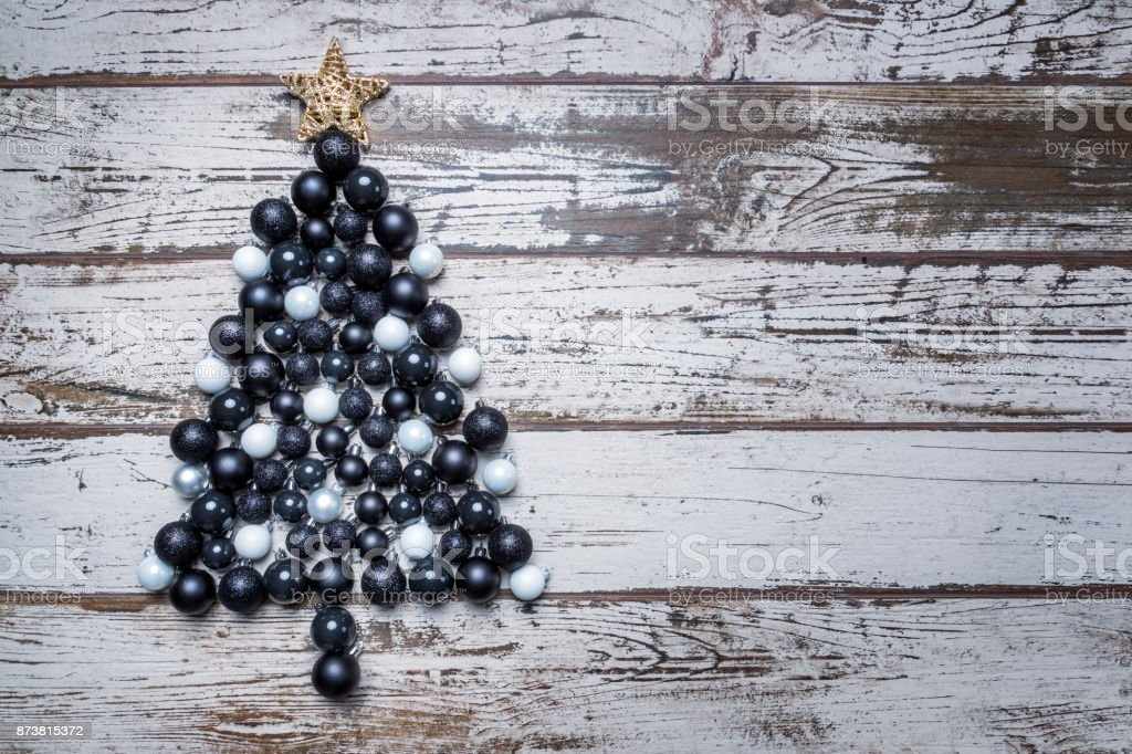 White Christmas In Germany.Black And White Christmas Balls As Christmas Tree On Shabby
