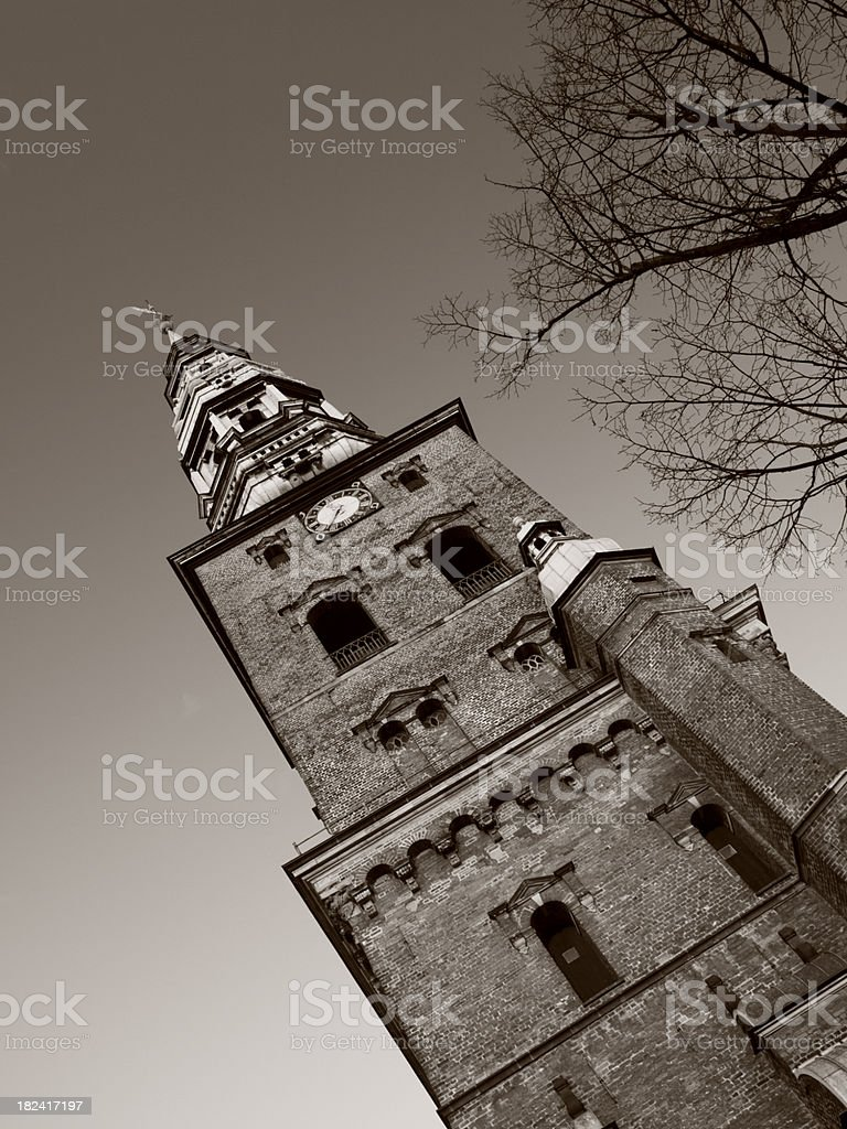 Black and white church in Copenhagen royalty-free stock photo