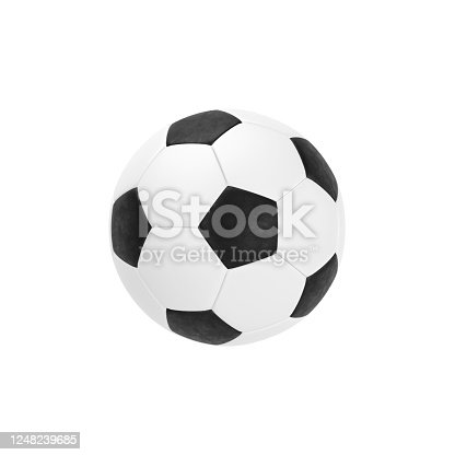 992854608 istock photo black and white classic soccer ball isolated on white background 1248239685