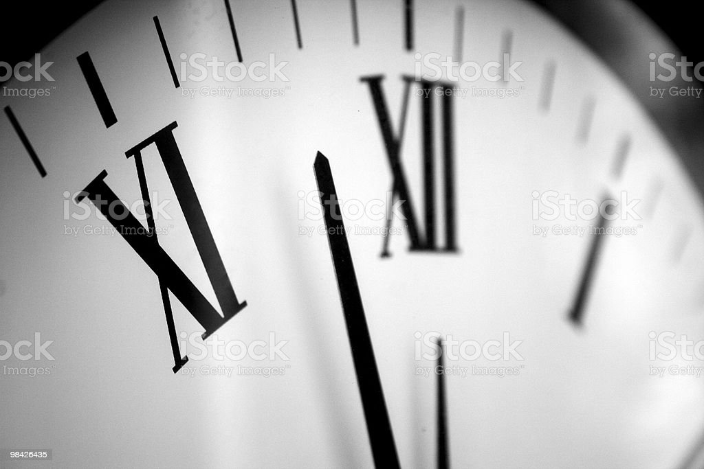 Black and White Clock with Roman Numerals royalty-free stock photo