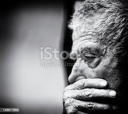 istock A black and white close-up of a senior man 143917650