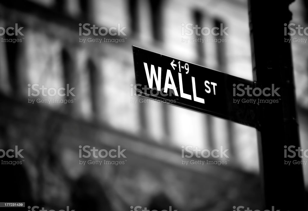 A black and white close-up of the Wall Street sign royalty-free stock photo