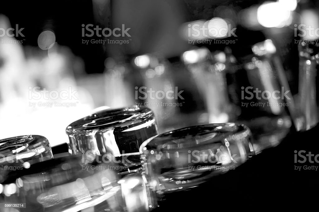 Black and White Close-Up Washed Drinking Glasses stock photo