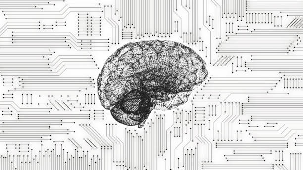 Black and white computer brain with inverted circuit board graphic stock photo