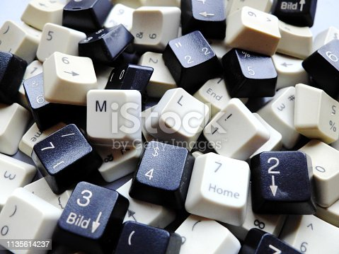 Black and white computer keyboard keys, mostly numeric with ML (Machine learning) buttons at the front. Concept of unstructured big data that need to be sorted ready to be consumed by ML or deep learning.