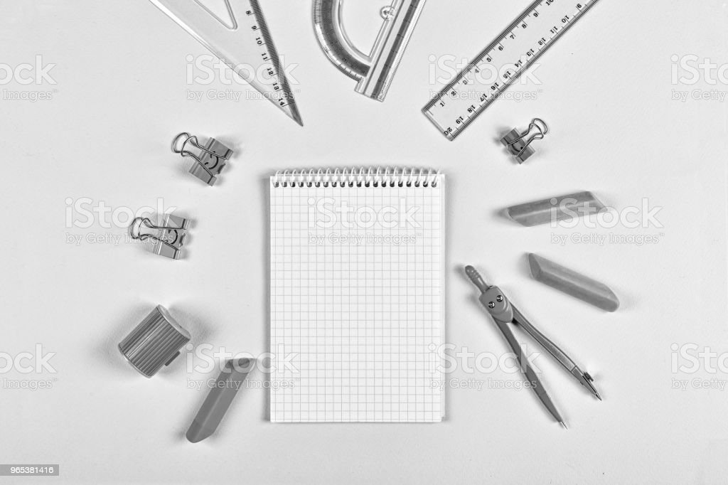 black and white. concept school, Still life,minimalism, business, planning or education concept. zbiór zdjęć royalty-free