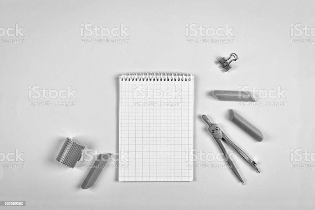 black and white. concept school, Still life,minimalism, business, planning or education concept. flat lay zbiór zdjęć royalty-free