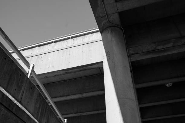 Black and White Concrete highway stock photo