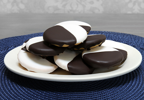 Black And White Cookies On An Oval Plate Stock Photo - Download Image Now