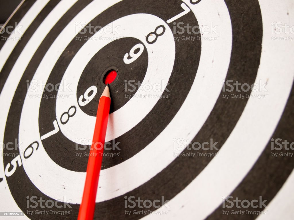 Black and white dart with the pencil point at the center (Concept for target, achievement, business focus) stock photo