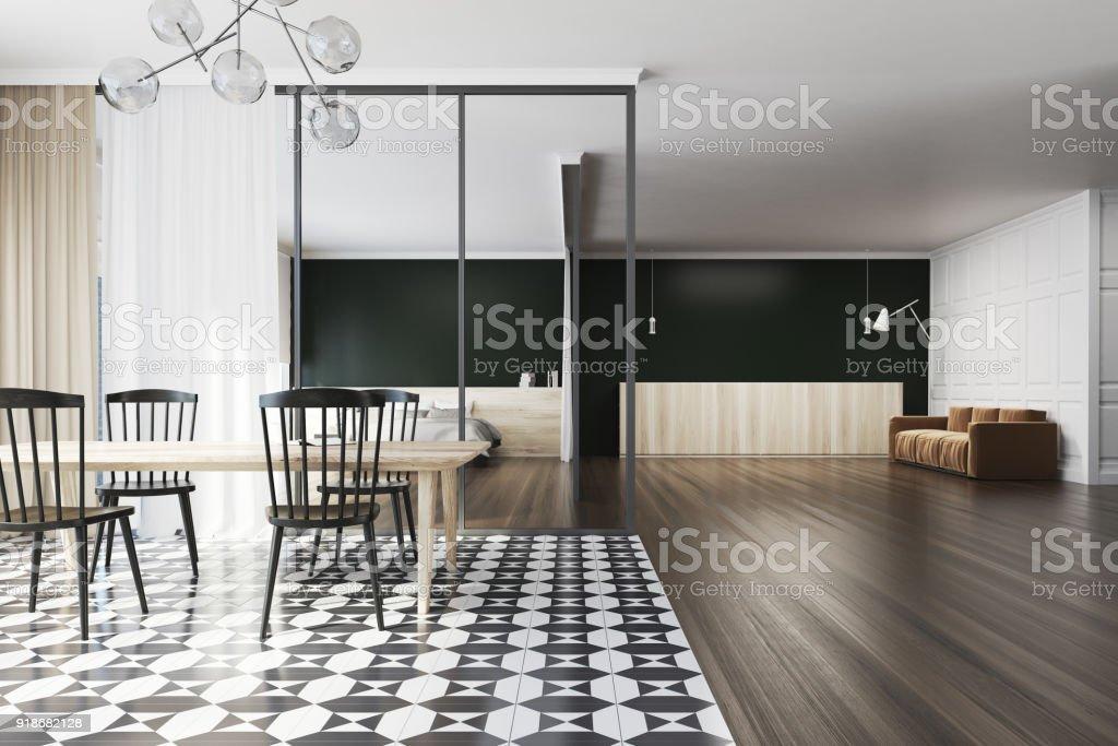 Schwarz Weiss Esszimmer Sofa Fliesen Stockfoto Und Mehr Bilder Von Arbeitsplatte Istock