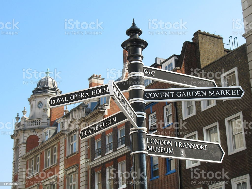 Black and white directional signs in London  royalty-free stock photo