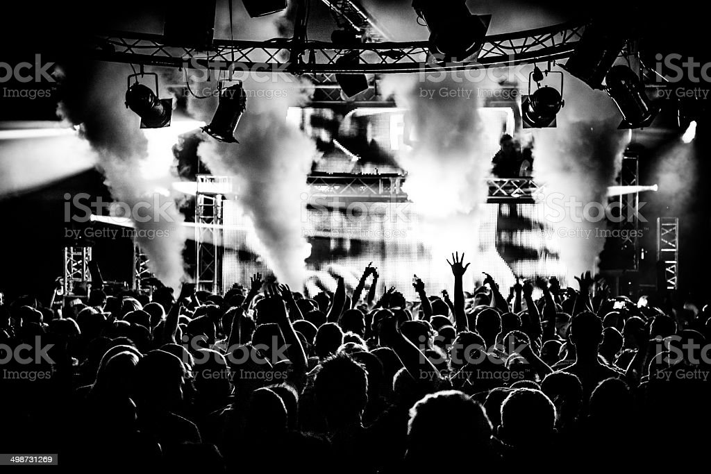 Black and white DJ and crowd in nightclub stock photo
