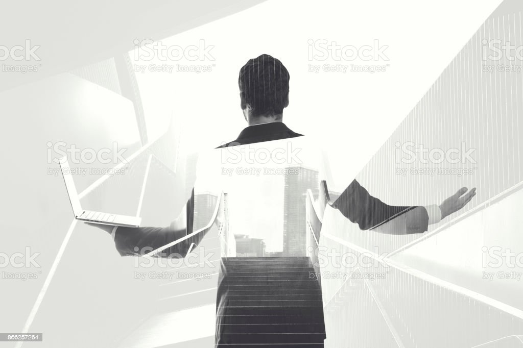 black and white double exposure businessman lines stock photo