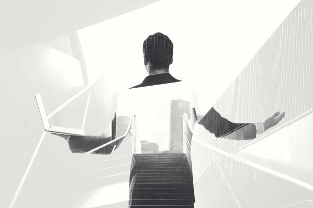black and white double exposure businessman lines - laptop digital composite stock photos and pictures