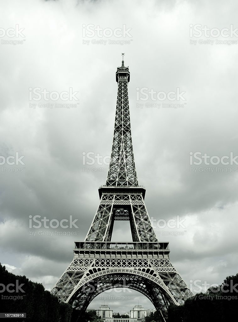 Black and white Eiffel Tower in Paris, France royalty-free stock photo