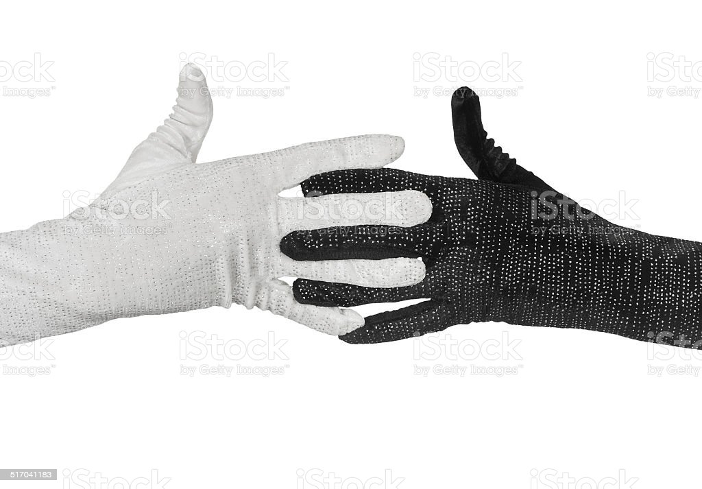 Black and white  elegant women's gloves with rhinestones stock photo