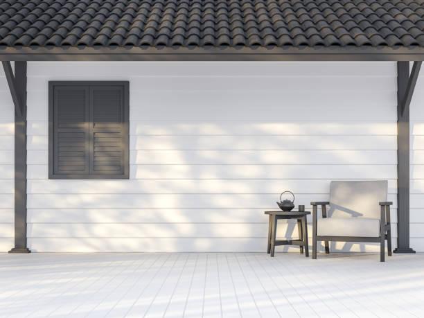 Schwarz-weiß Außenwand 3d render – Foto