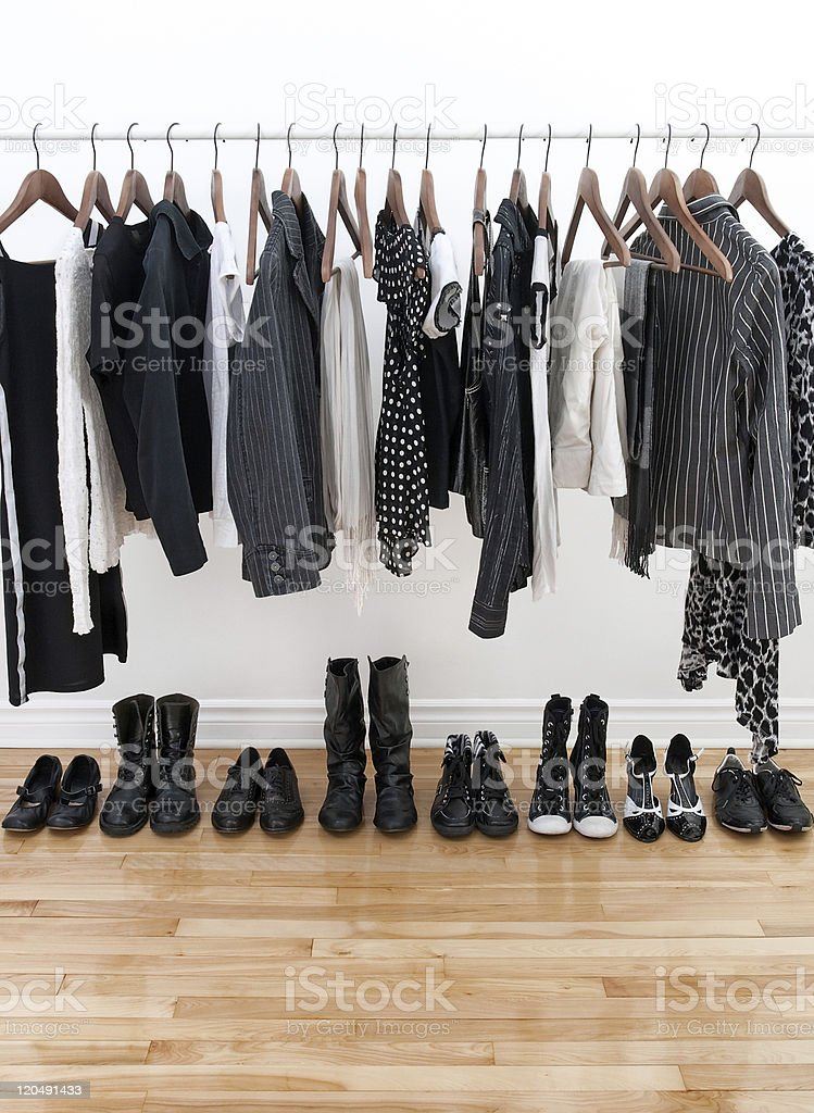 Black and white female clothing stock photo