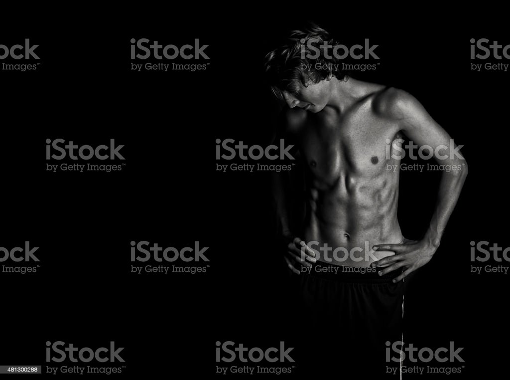 Black and White Fitness Physique stock photo