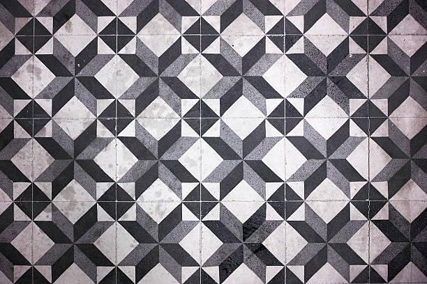 Black And White Floor Tile Pattern stock photo