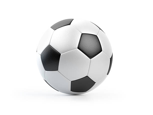 Black and White Football Ball on White stock photo